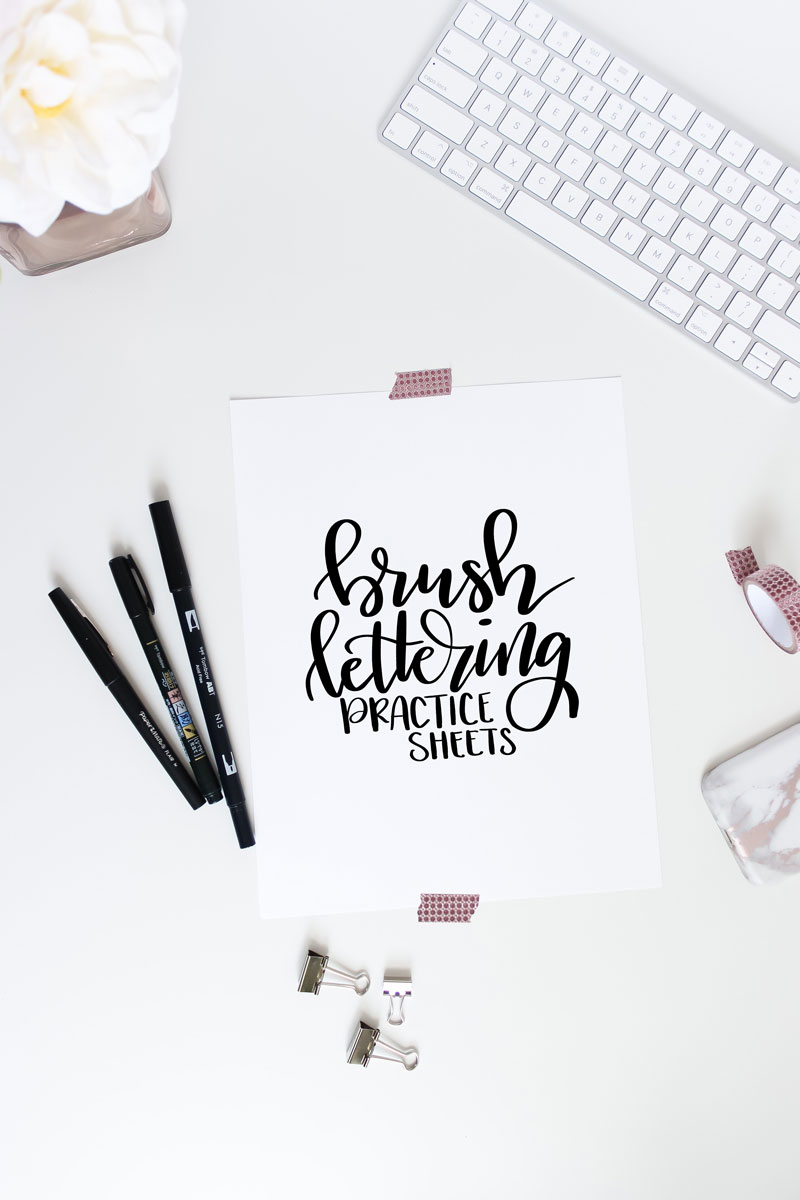 photograph about Brush Lettering Practice Sheets Printable known as No cost Brush Lettering Coach Sheets Via Amanda Kay