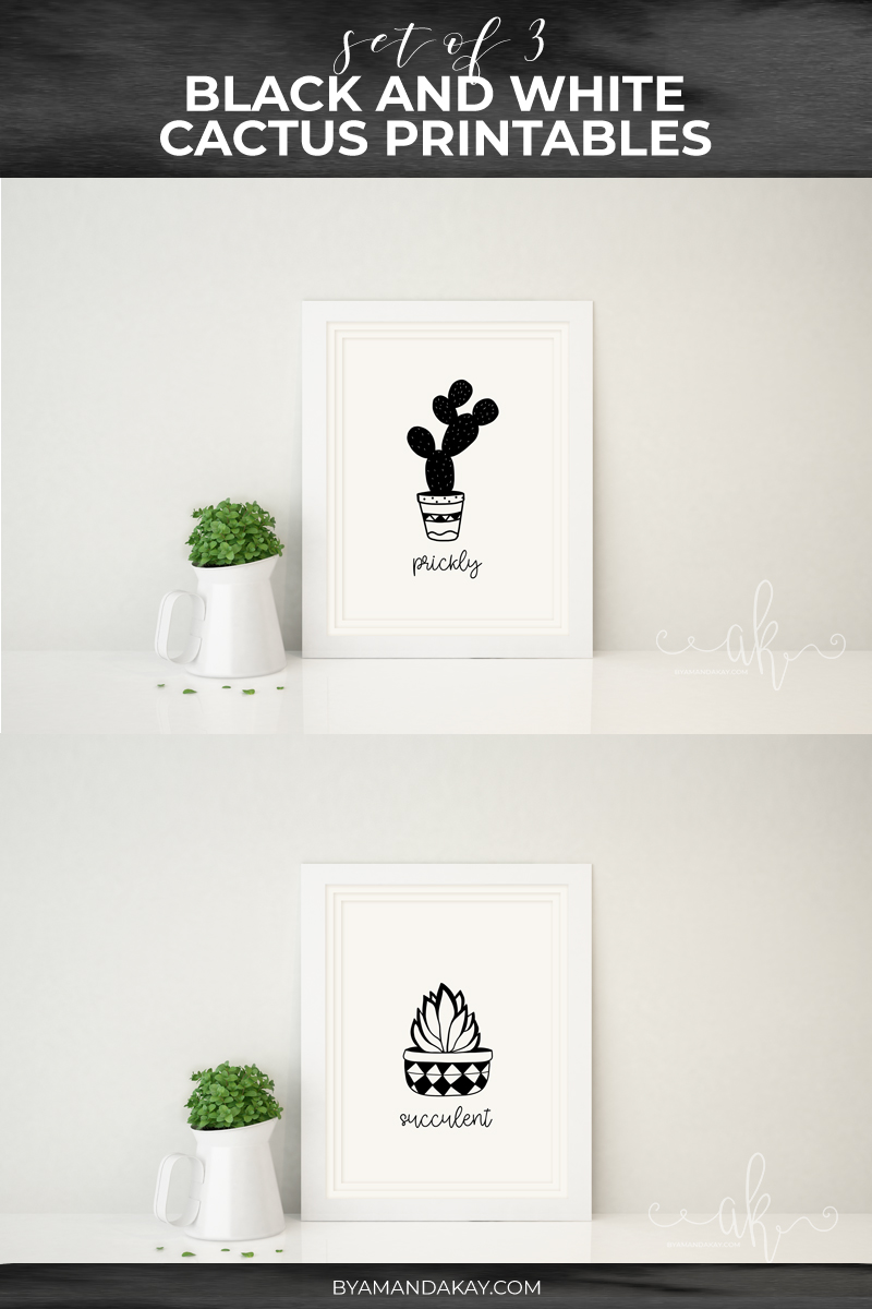 set of 3 cacti prints