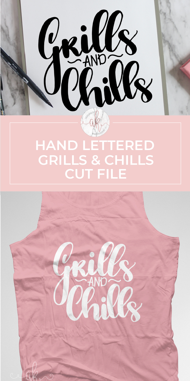Grab a free hand lettered grills and chills cut file perfect for Summer crafting