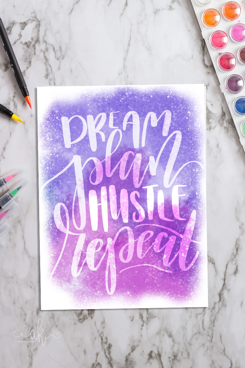 Hand Lettered Printable Watercolor Art