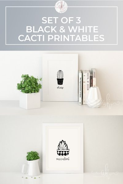 Set of 3 Black and White Cacti Printables
