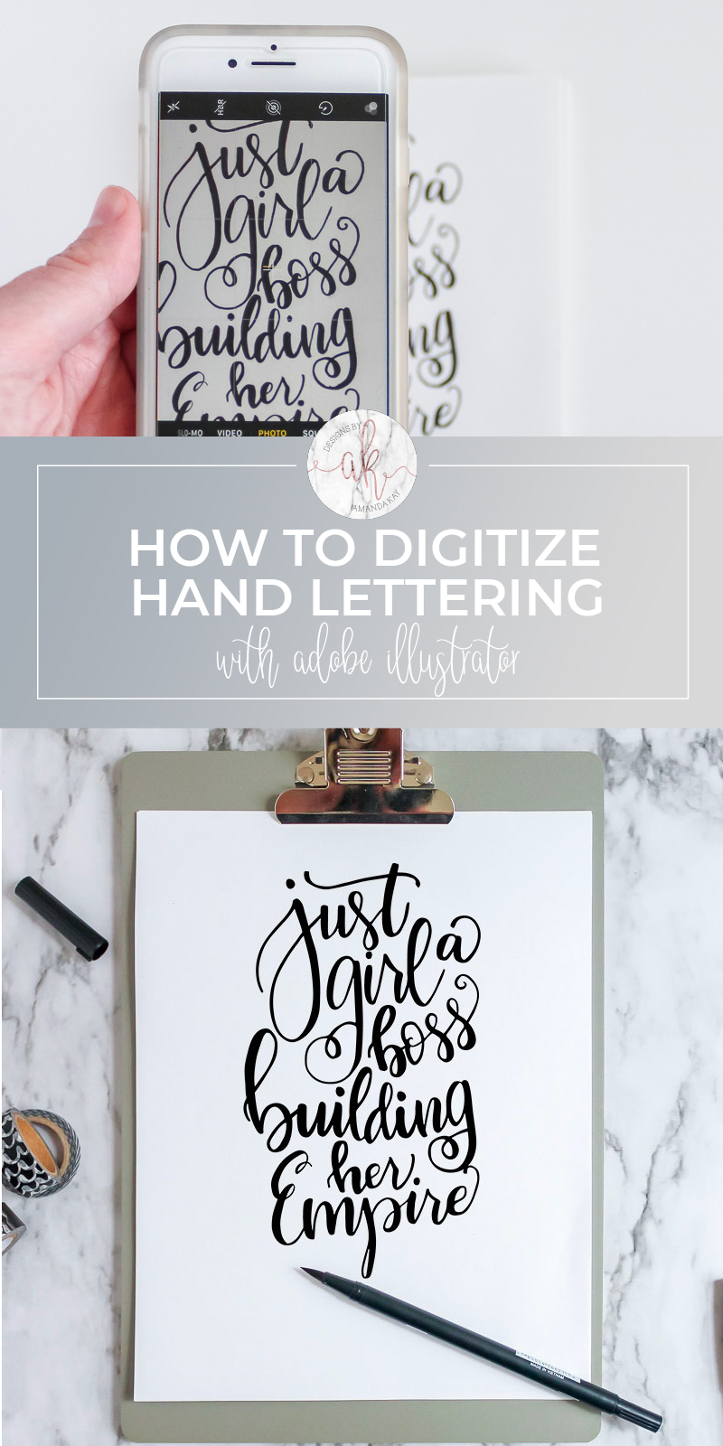 If you've ever hand lettered something and wondered how to get that beautiful work from paper to a digital file then this tutorial is for you. Learn how to digitize hand lettering using Adobe Illustrator.