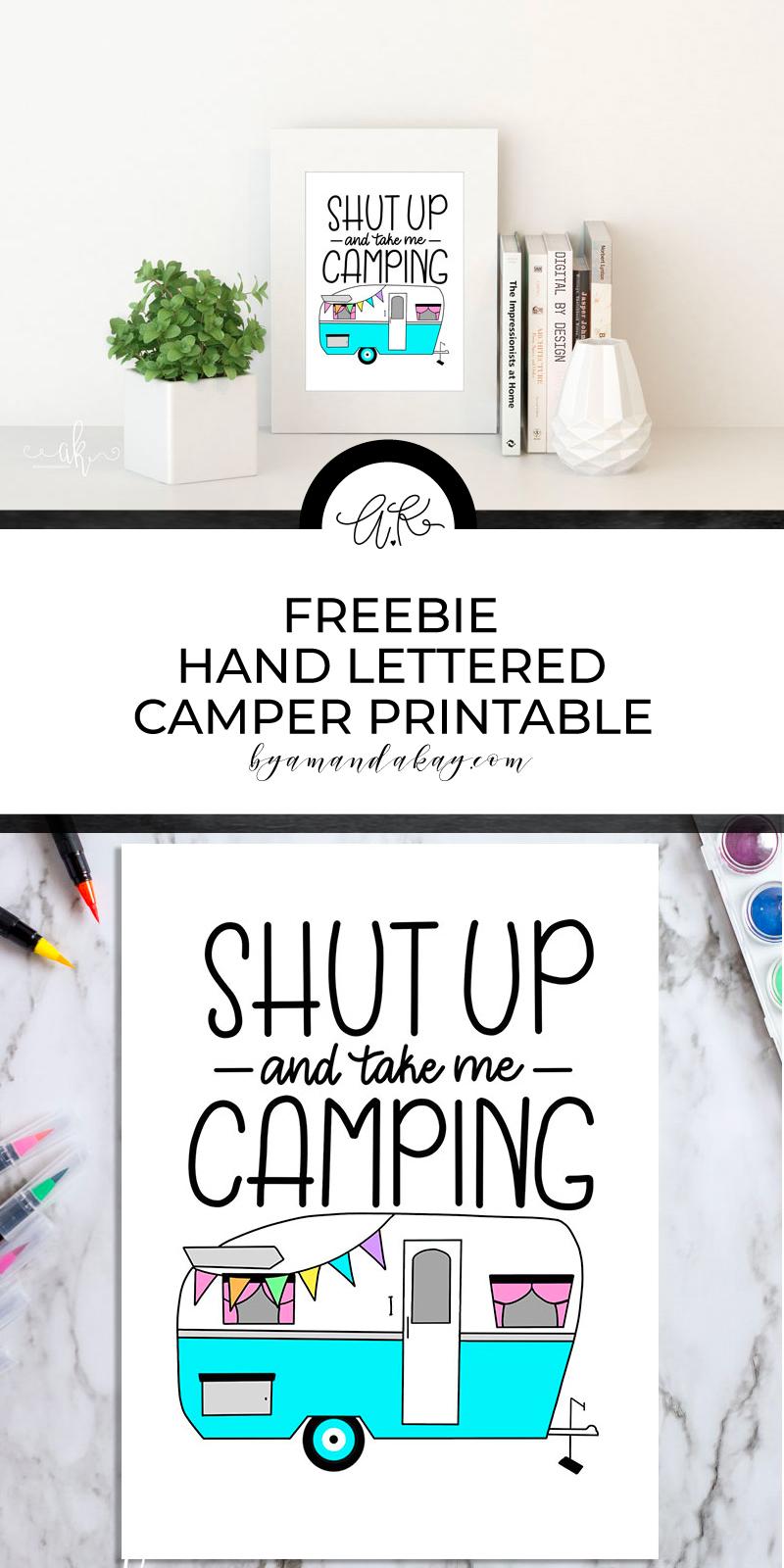 Free download! Hand lettered Camper Printable