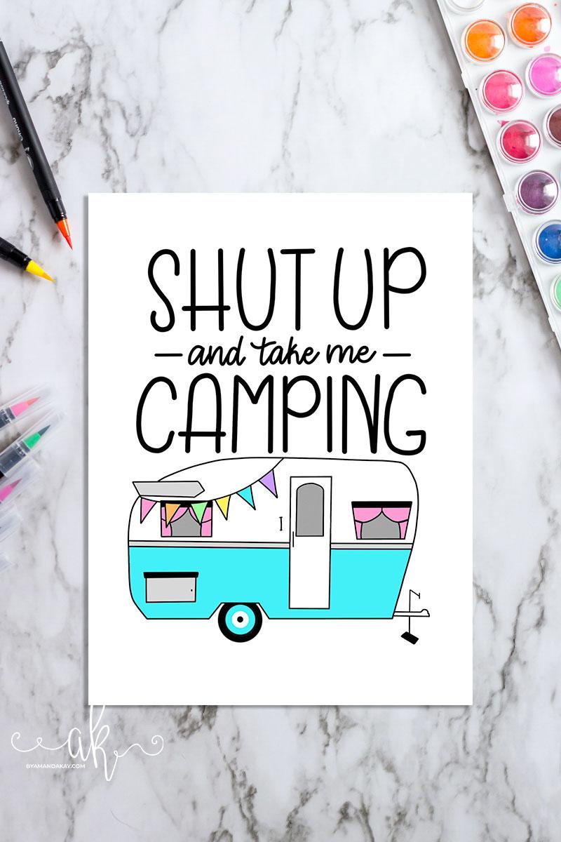 free hand lettered camper printable download