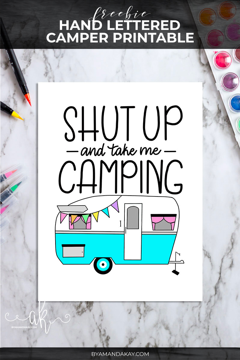 Freebie Hand Lettered Camping Printable