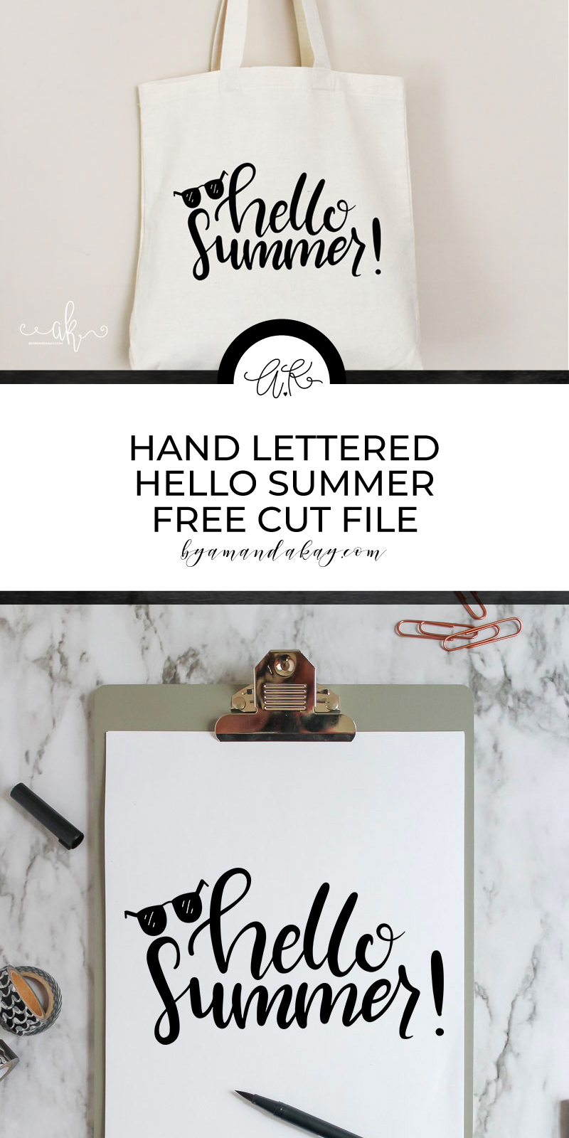 hand lettered hello summer pinterest image