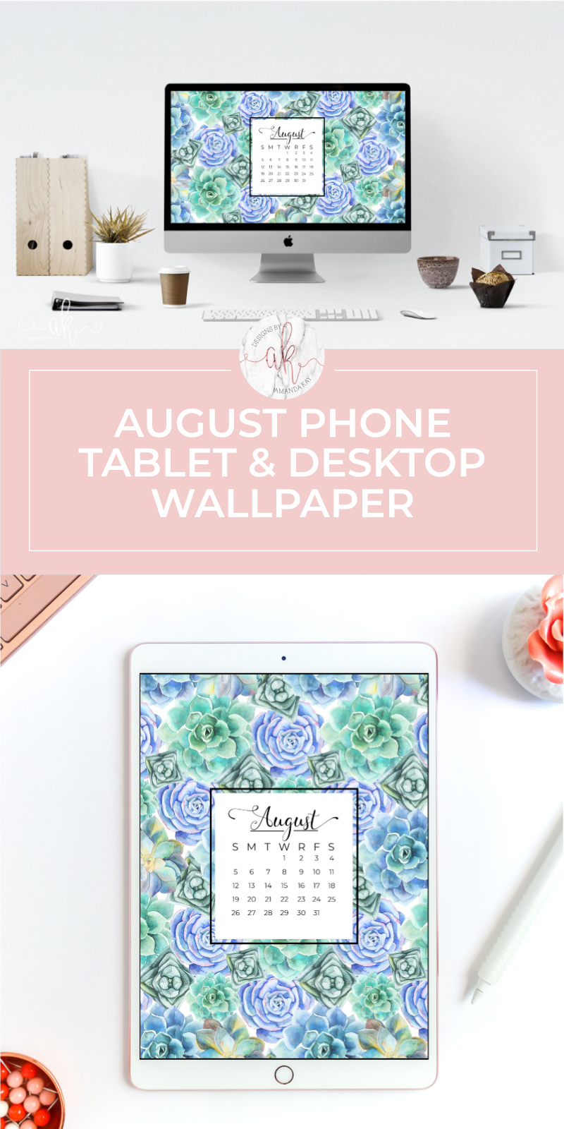 Jazz up your computer, phone or tablet with these free August calendar wallpapers!   #freewallpaper #augustwallpaper #computerwallpaper #phonewallpaper #freedownload #byamandakay