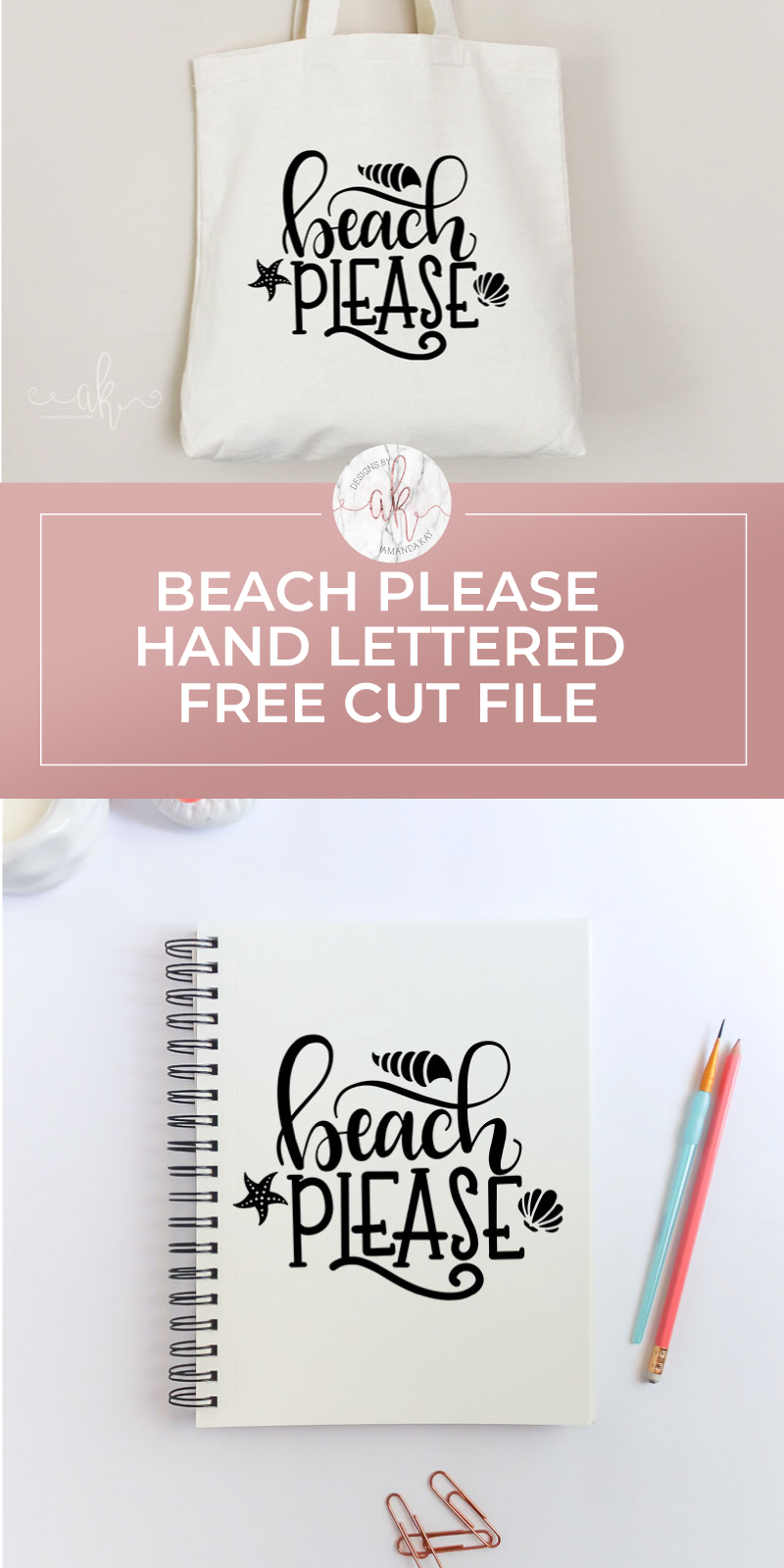Everyone could use a little beach in their lives. Grab your FREE beach please hand lettered cut file to make some fun Summer apparel.