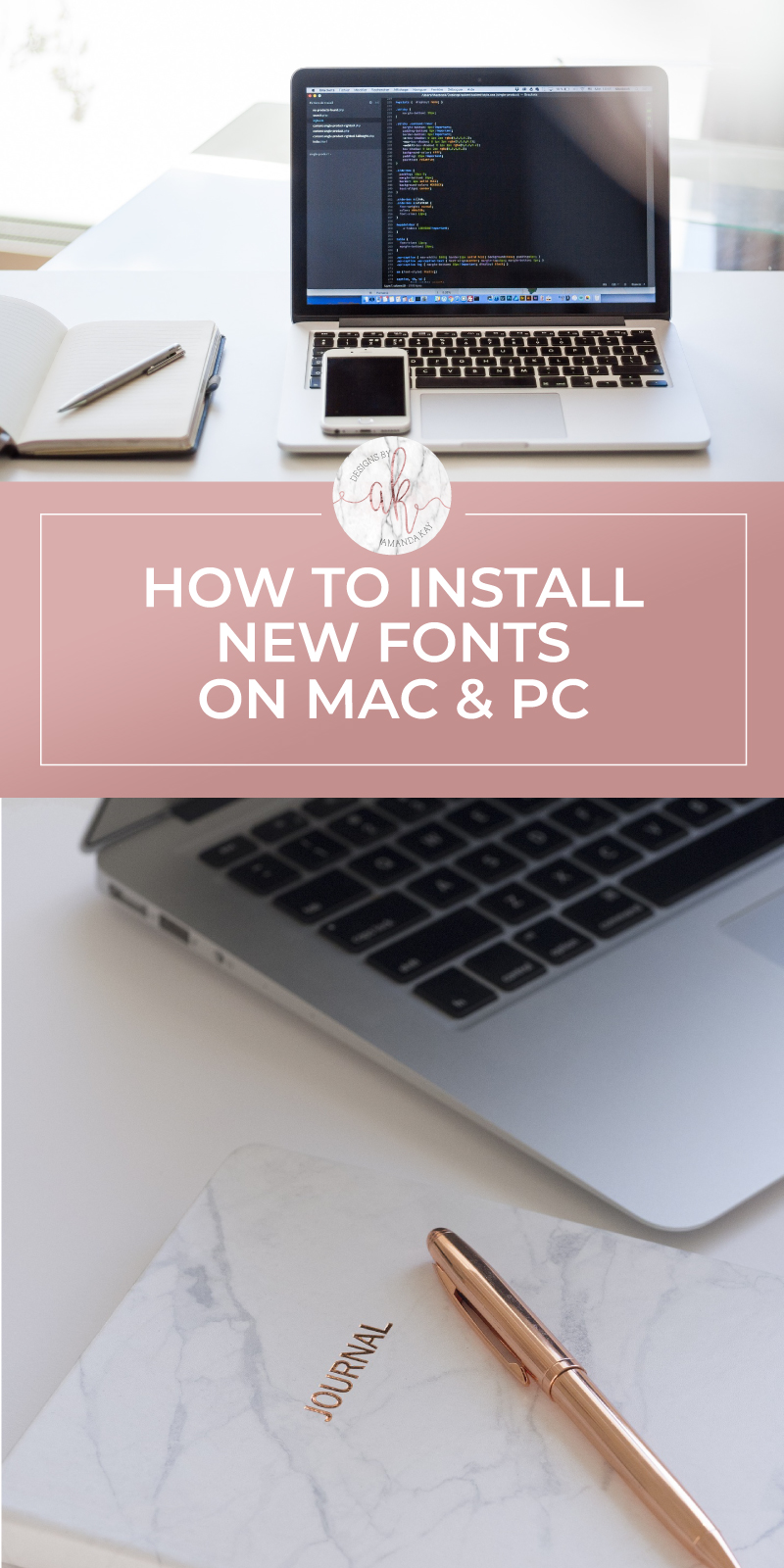 Learn the easy steps to install a new font onto your computer -- Mac and PC  #byamandakay #howtoinstallfonts #newfonts #computertutorial