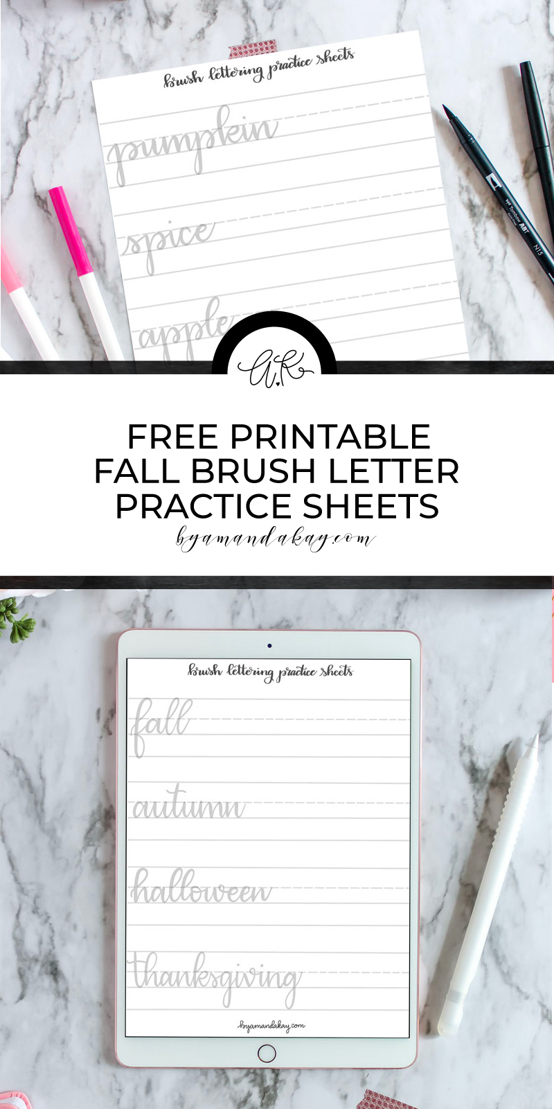 Printable Lettering Practice Sheets Fall Words