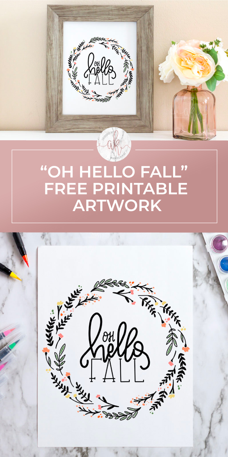 Fall is right around the corner! Download this Hello Fall free printable artwork for an easy and whimsical piece to add to your Fall displays.  #fallfreeprintable #hellofallprintable #hellofallfreeprintable #freeprintableartwork #freefallprintableartwork #fallprintableartwork #printableartwork #freeprintableart #fallprintableart #freefallprintableart #byamandakay