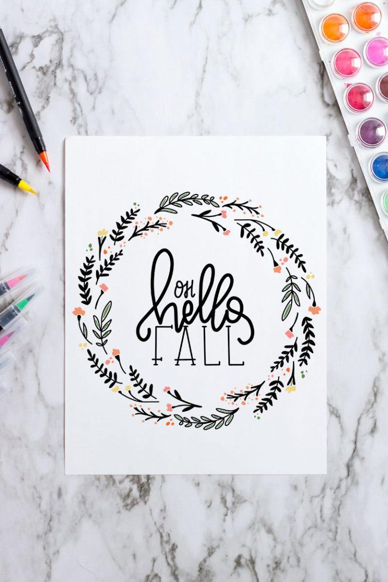 Hello Fall Free Printable Art