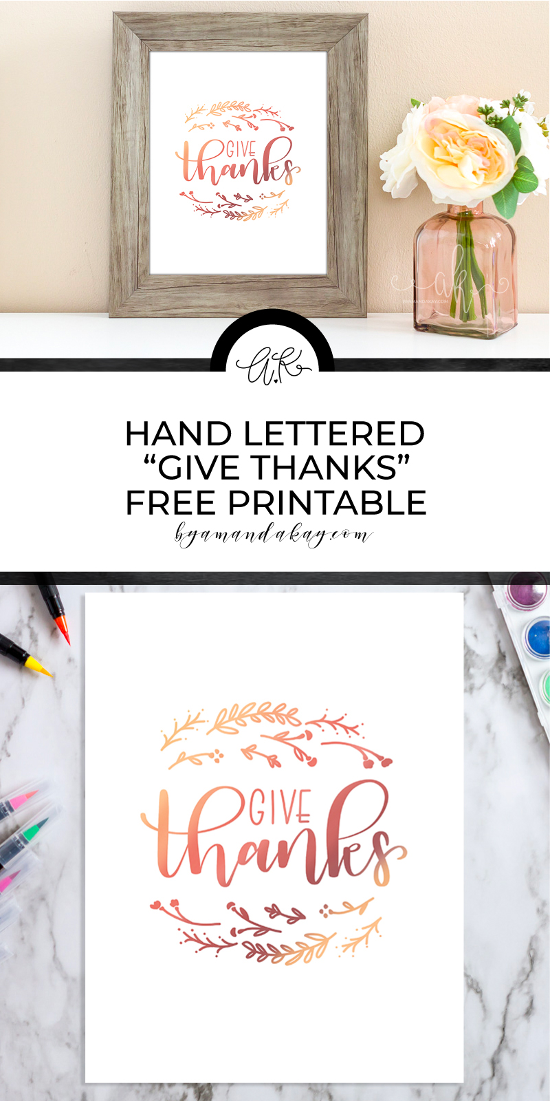 free printable give thanks watercolor look