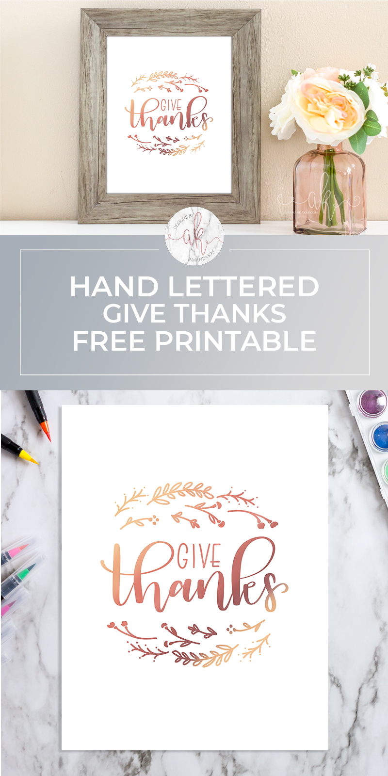 The season of giving thanks is upon us, and what better way to remember to be thankful than this adorable hand lettered give thanks free printable?