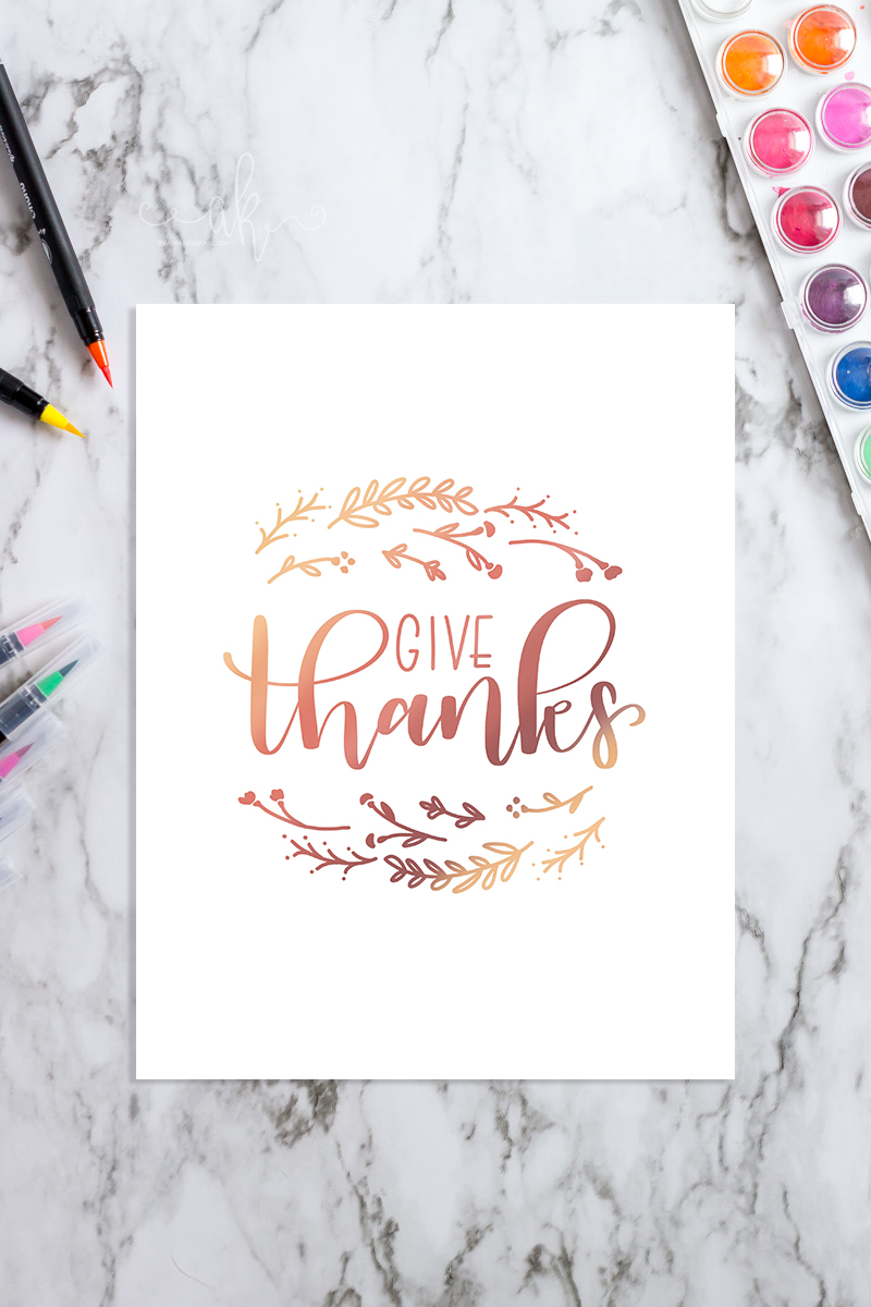Hand Lettered Give Thanks Free Printable