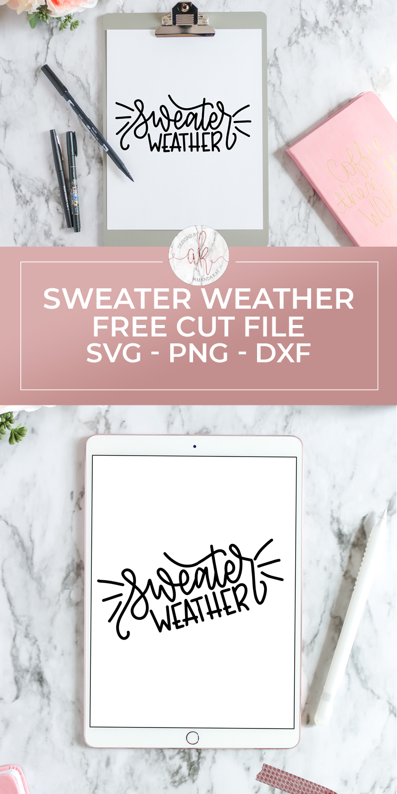 Sweater Weather is finally here! Grab this hand lettered sweater weather free cut file to use on coffee mugs, shirts, totes and anything else you want. It's completely FREE!  #freecutfile #freesvgcutfile #sweaterweather #sweaterweathercutfile #handletteredcutfile #byamandakay