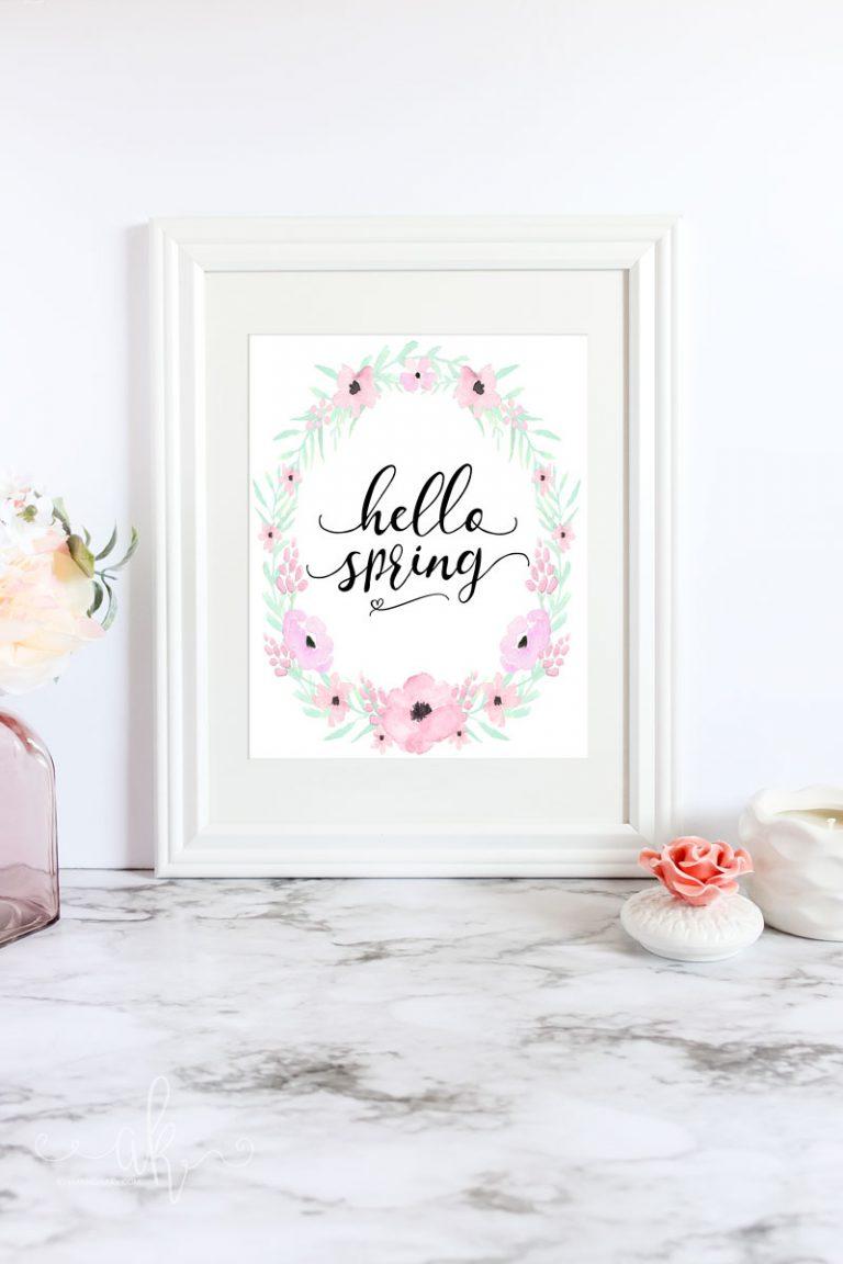 Free Hello Spring Floral Printable