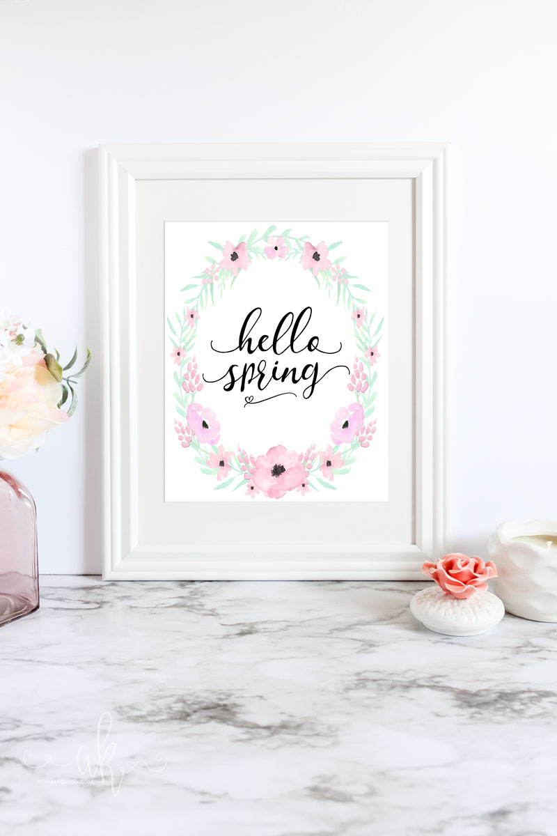 Free Hello Spring Floral Printable Art