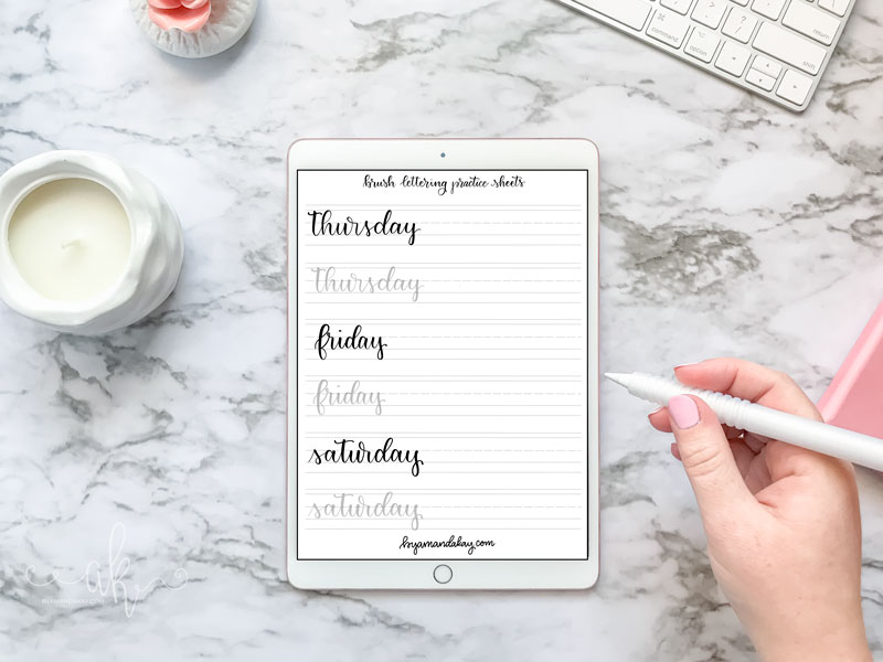 Free Days of the Week Brush Lettering Practice Sheets | By