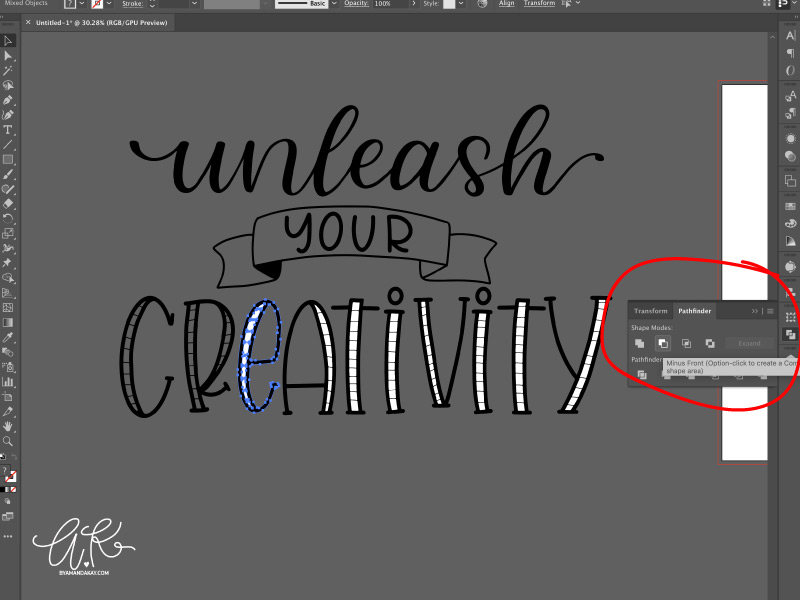 How to turn procreate lettering into svg cut files minus front step 7