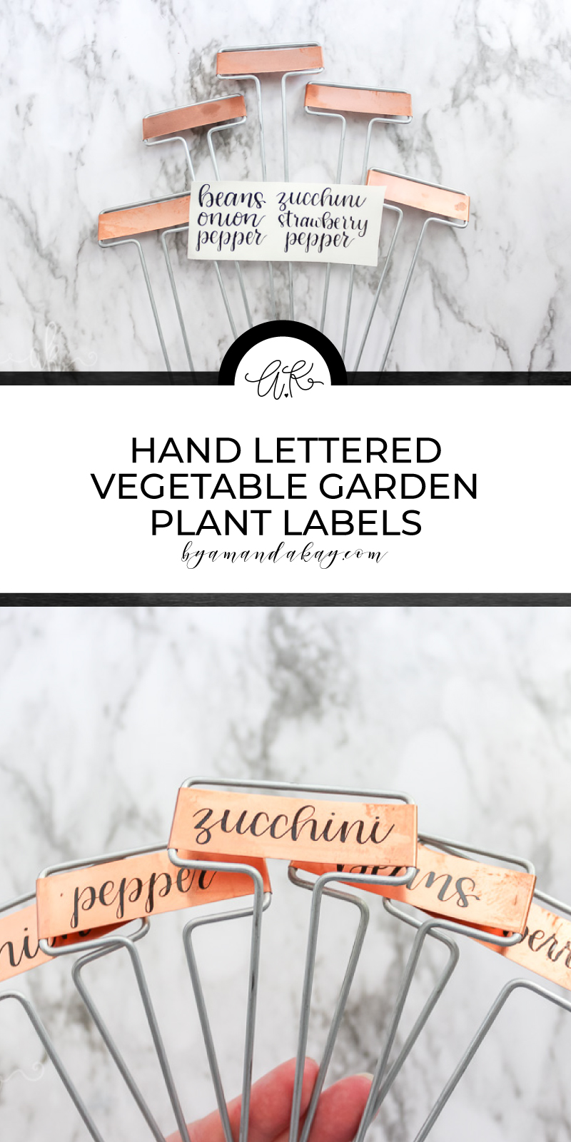 Pinterest, hand lettered vegetable plant labels