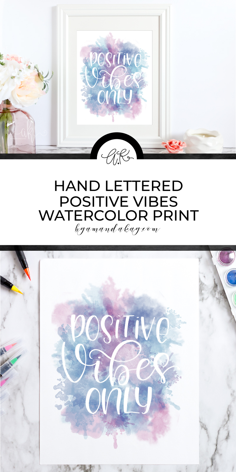 Lovely watercolor positive vibes only art