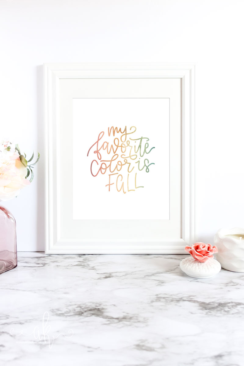 Free My Favorite Color is Fall Watercolor Printable