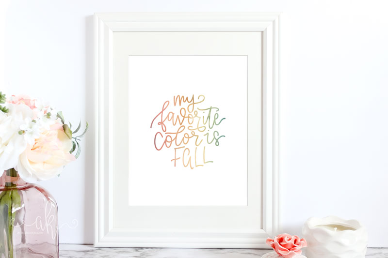 Printable watercolor fall art