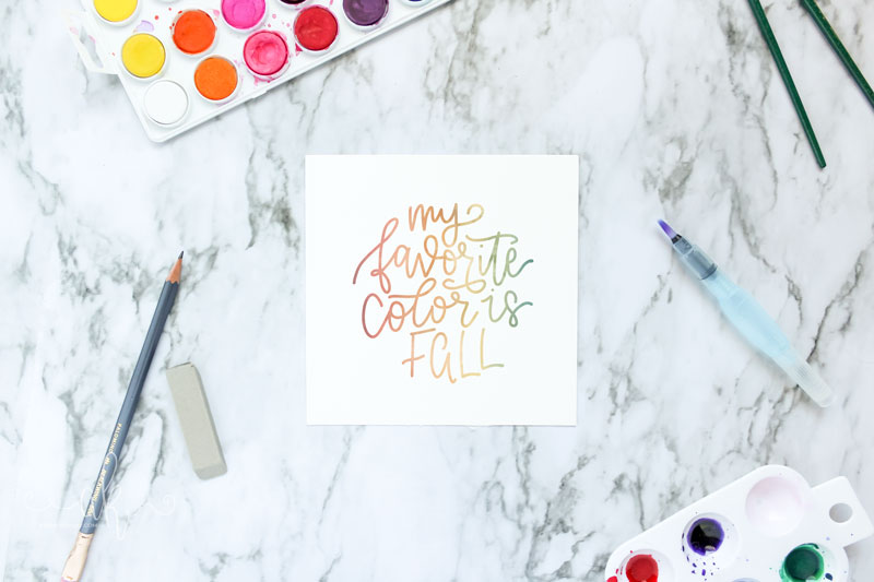 Hand lettered My Favorite Color is Fall quote