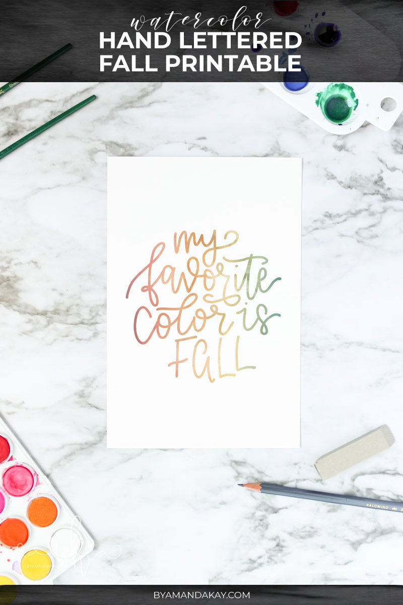 Fall printable watercolor cover