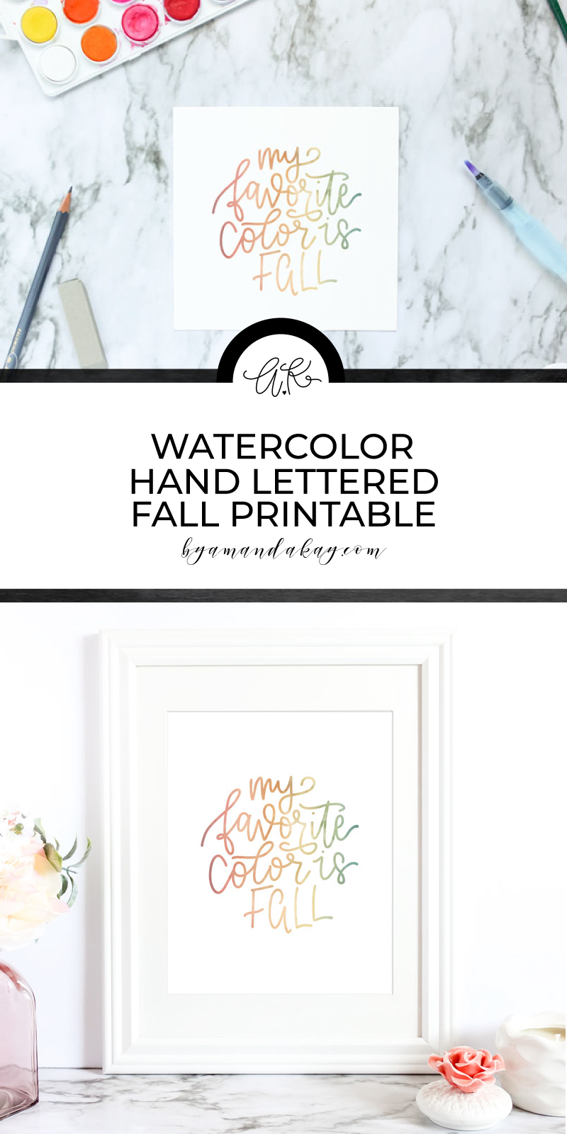 Free Watercolor Fall Printable pin