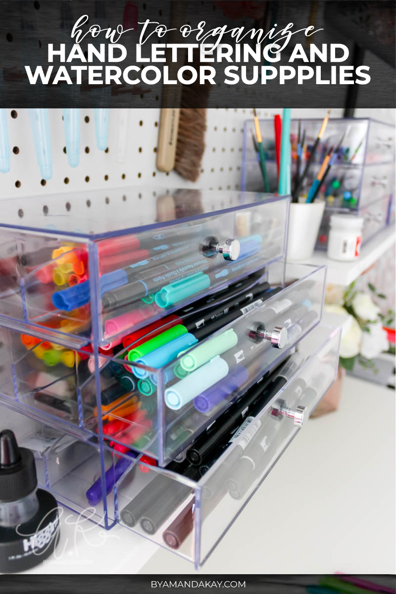 how to organize lettering and watercolor supplies cover