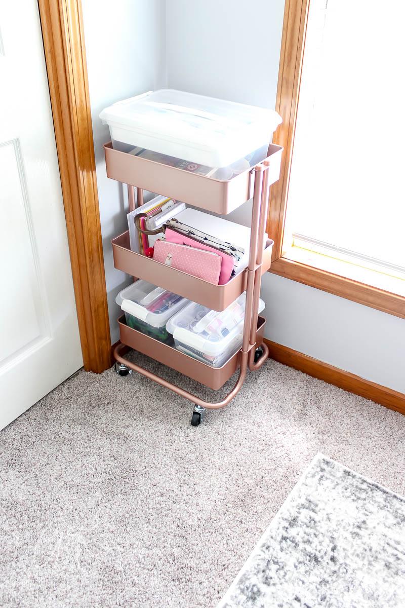 3 shelf metal cart for storing art supplies
