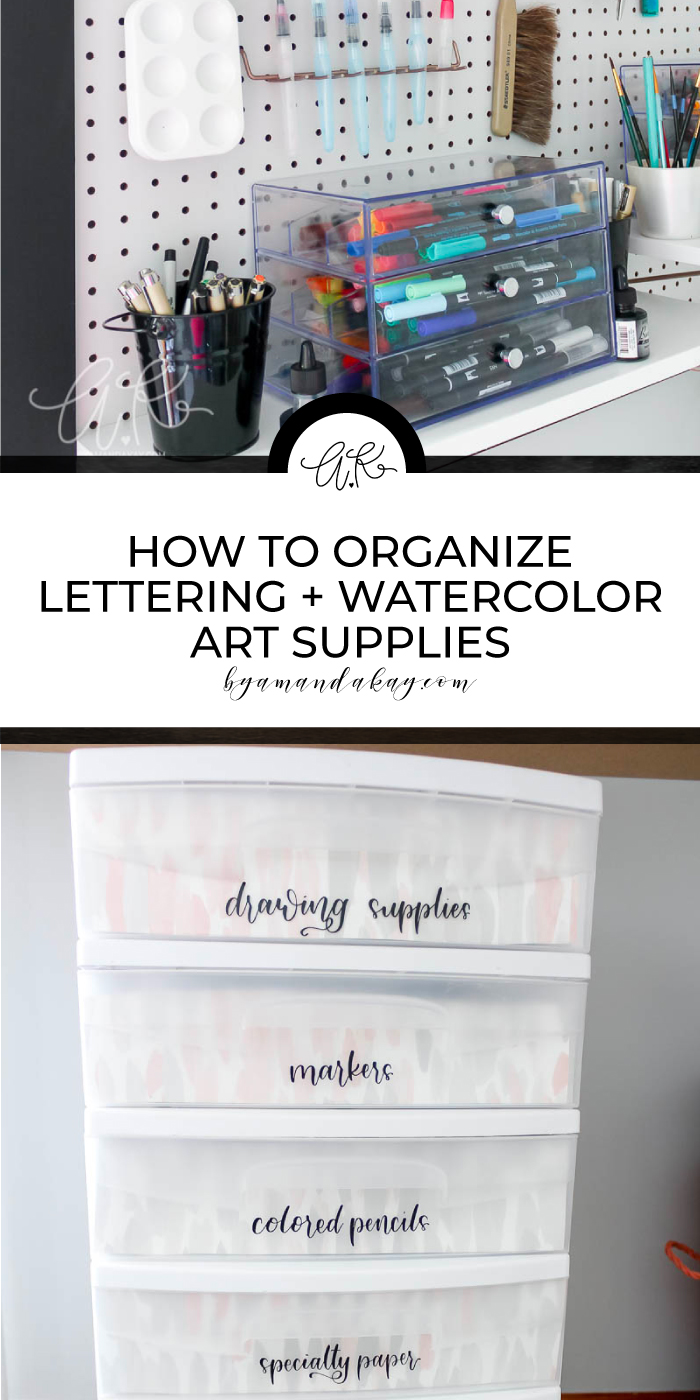 organizing lettering supplies pin