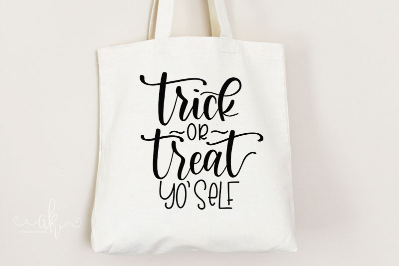 Free Halloween cut file on tote bag mockup