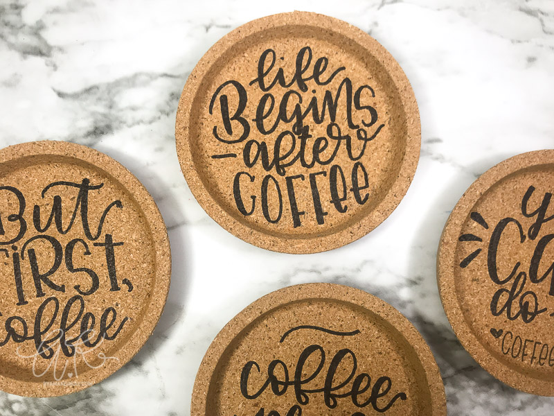 hand lettered cork coasters