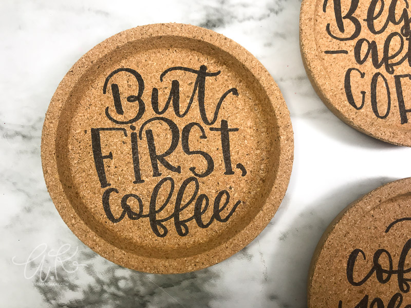 But First Coffee cork coaster