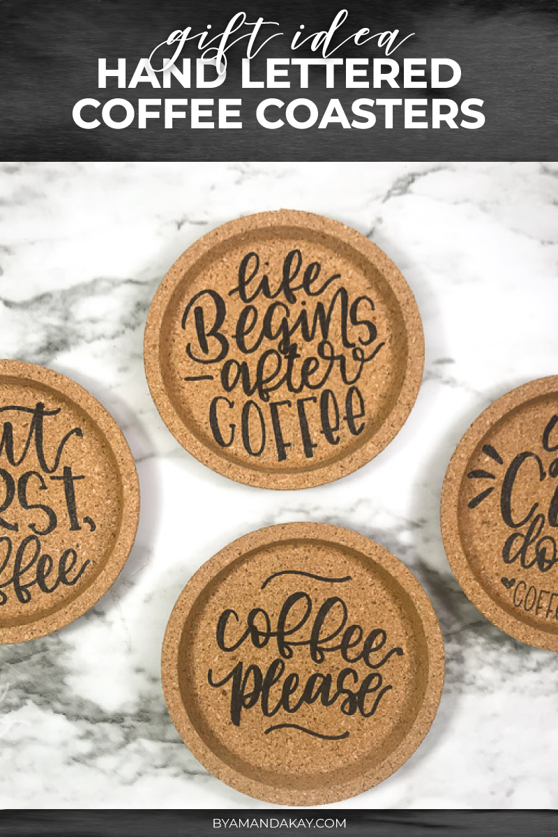Hand Lettered Cork Coasters | DIY Gift Idea