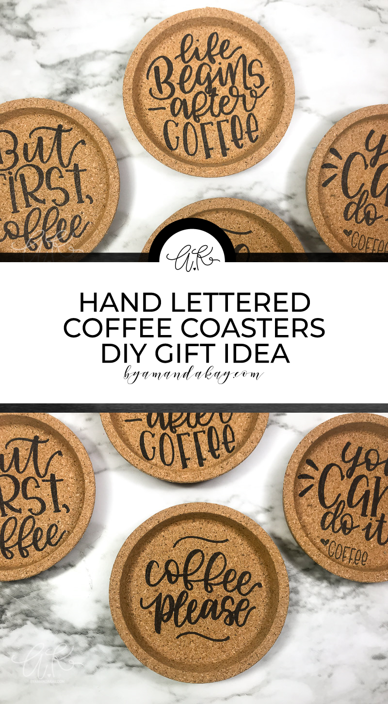 Hand Lettered Cork Coasters Pin