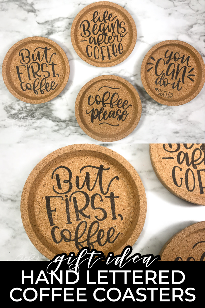 Hand Lettered Cork Coasters | DIY Gift Idea