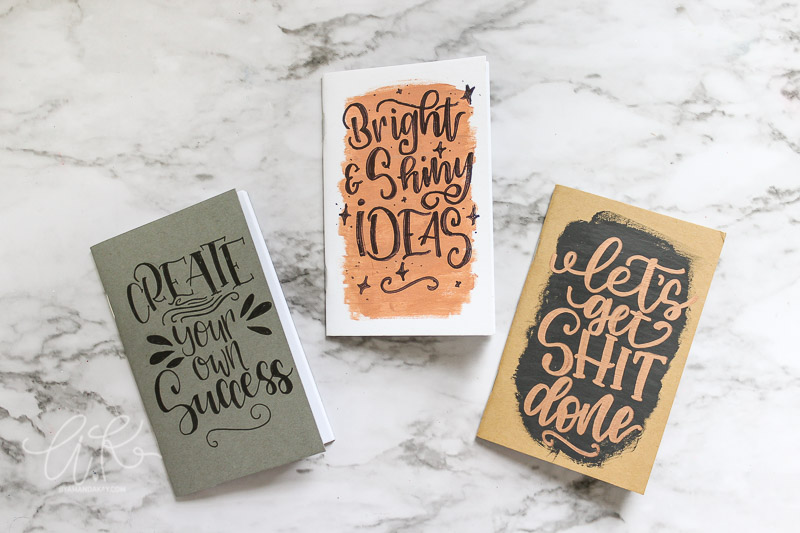 finished hand lettered mini notebooks