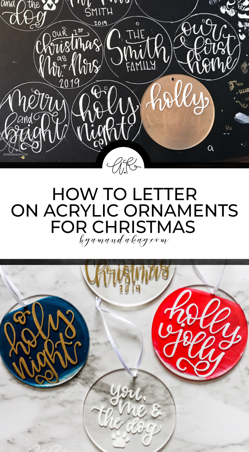 How to letter on acrylic ornaments for christmas pin