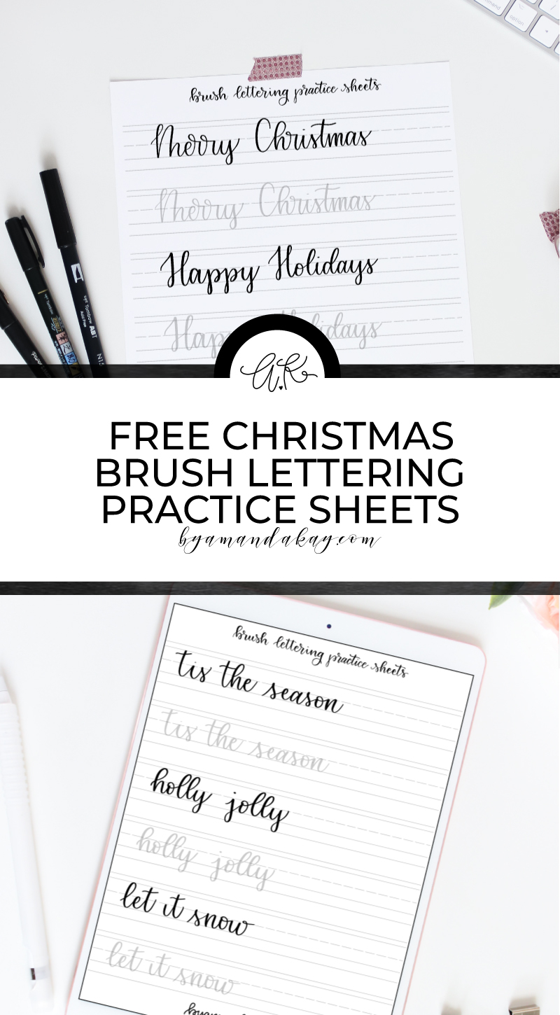 Christmas brush lettering practice sheets pin