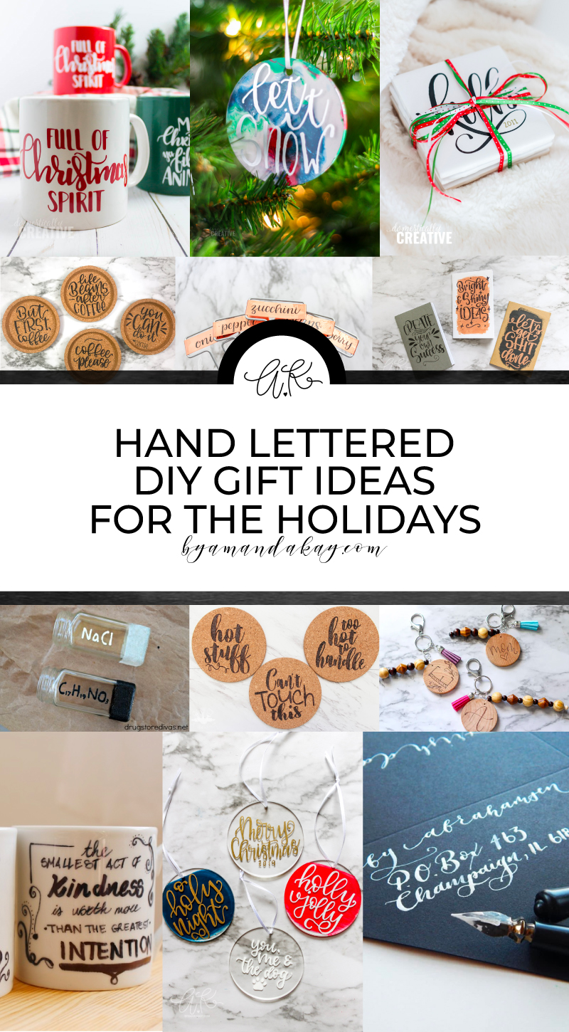 Hand lettered gift ideas collage pin