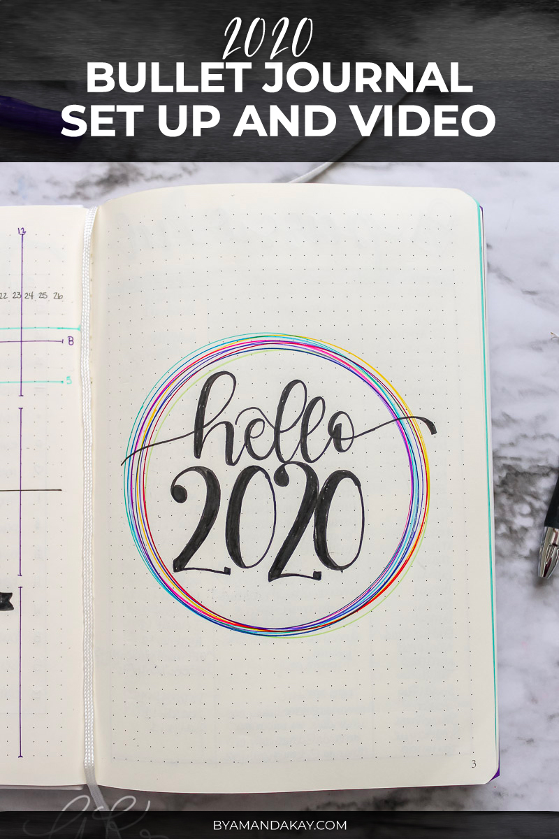 hello 2020 bullet journal cover