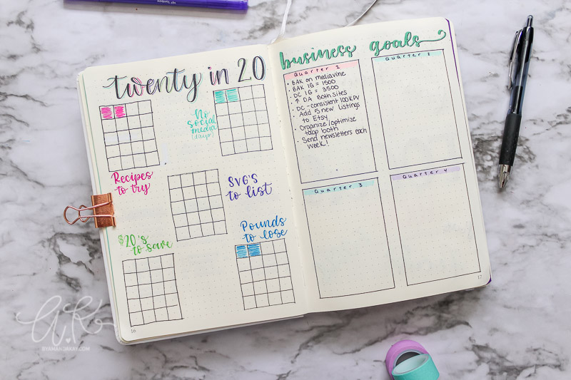 Twenty in 20 tracker and business goals by quarter