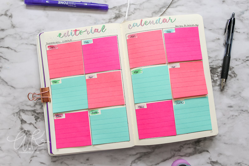 bullet journal editorial calendar