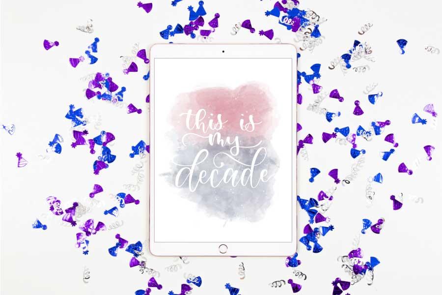 Confetti around ipad with custom artwork