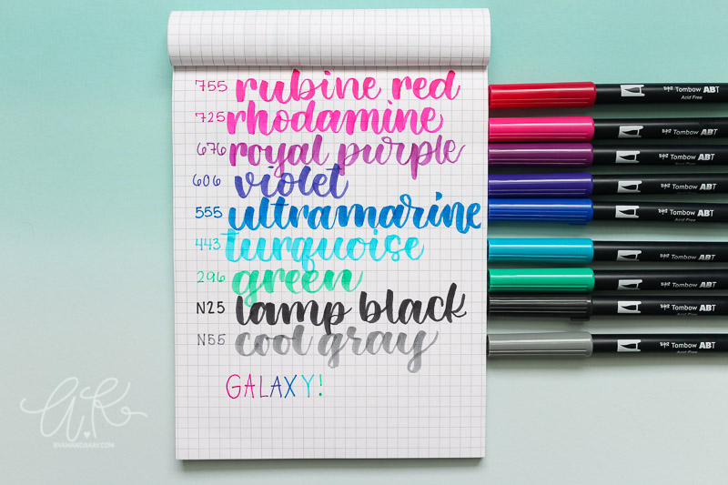 Swatching view of Tombow dual brush pens galaxy pack