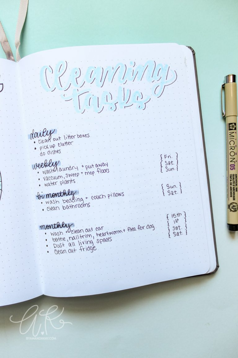 Bullet Journal Cleaning Schedule Ideas